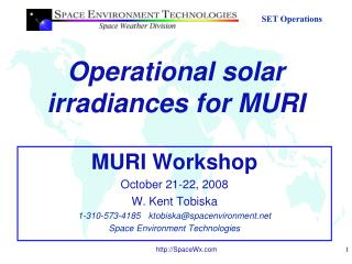 Operational solar irradiances for MURI