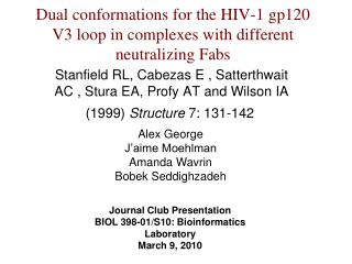 Dual conformations for the HIV-1 gp120 V3 loop in complexes with different neutralizing Fabs