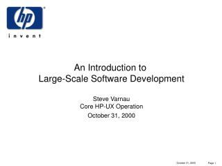 An Introduction to  Large-Scale Software Development