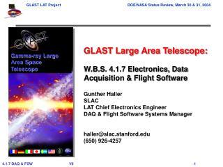 W.B.S. 4.1.7 Electronics, Data Acquisition & Flight Software