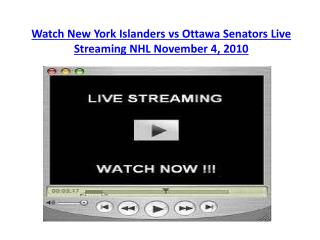 Watch New York Islanders vs Ottawa Senators Live Streaming N