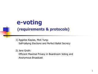 e-voting (requirements & protocols)