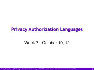 Privacy Authorization Languages