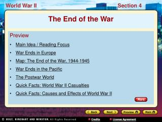 Preview Main Idea / Reading Focus War Ends in Europe Map: The End of the War, 1944-1945