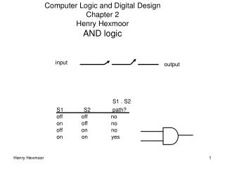 Computer Logic and Digital Design  Chapter 2 Henry Hexmoor AND logic