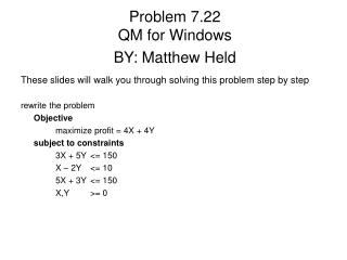 Problem 7.22 QM for Windows BY: Matthew Held