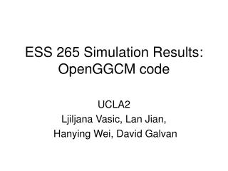 ESS 265 Simulation Results: OpenGGCM code