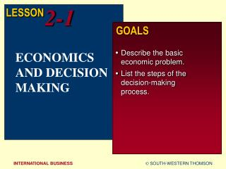 ECONOMICS AND DECISION MAKING
