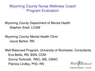 Wyoming County Nurse Wellness Coach Program Evaluation