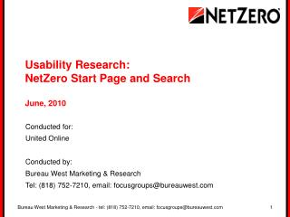Usability Research:  NetZero Start Page and Search  June, 2010