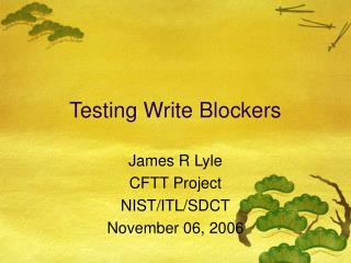 Testing Write Blockers