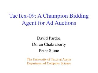 TacTex-09: A Champion Bidding Agent for Ad Auctions
