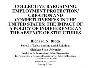 COLLECTIVE BARGAINING, EMPLOYMENT PROTECTION
