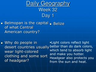 Daily Geography Week 32 Day 1