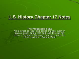 U.S. History Chapter 17 Notes