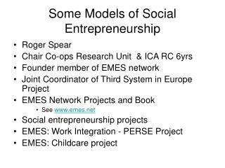 Some Models of Social Entrepreneurship