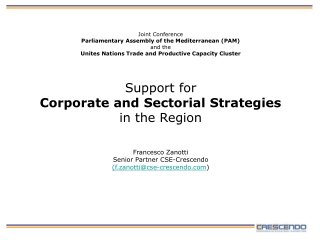 Support for Corporate and Sectorial Strategies in the Region
