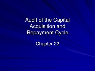 Audit of the Capital Acquisition and Repayment Cycle