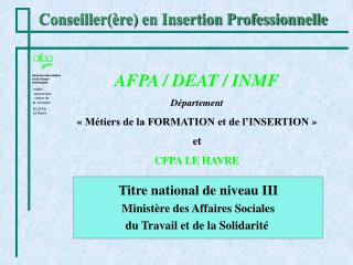 Conseiller re en Insertion Professionnelle