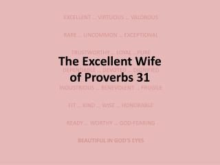 The Excellent Wife of Proverbs 31