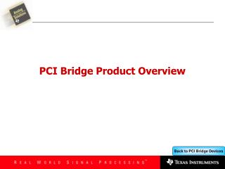 PCI Bridge Product Overview