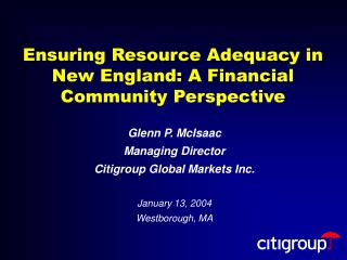 Ensuring Resource Adequacy in New England: A Financial Community Perspective