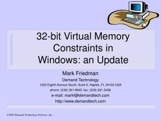 32-bit Virtual Memory Constraints in  Windows: an Update