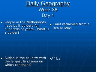 Daily Geography Week 36 Day 1