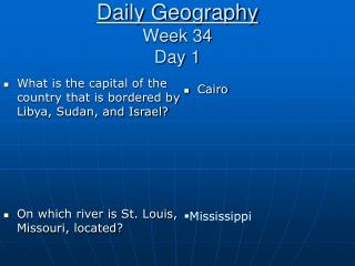Daily Geography Week 34 Day 1