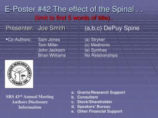 E-Poster #42 The effect of the Spinal . .  (limit to first 5 words of title)..