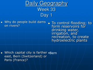 Daily Geography Week 33 Day 1