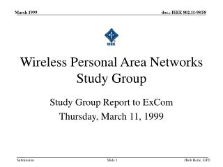 Wireless Personal Area Networks Study Group