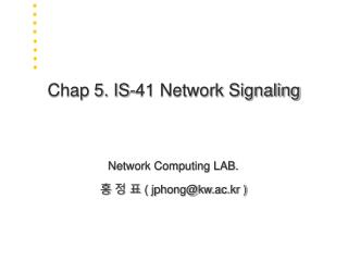 Chap 5. IS-41 Network Signaling