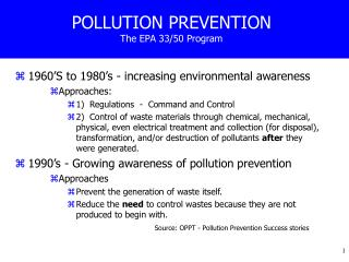 POLLUTION PREVENTION The EPA 33/50 Program