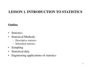 LESSON 1. INTRODUCTION TO STATISTICS