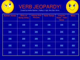 VERB JEOPARDY! Created by Heather Beaman – Hadley Jr. High, Glen Ellyn, Illinois