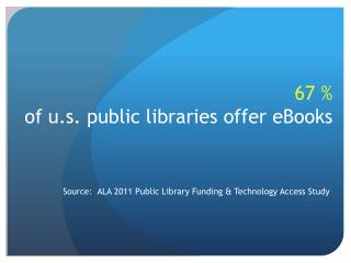 67 % of u.s. public libraries offer eBooks