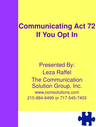 Communicating Act 72 If You Opt In