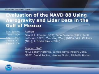 Evaluation of the NAVD 88 Using Aerogravity and Lidar Data in the Gulf of Mexico