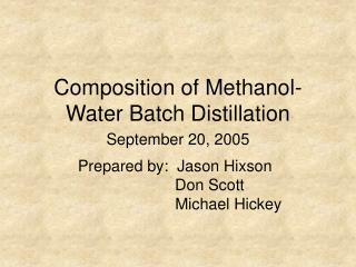 Composition of Methanol-Water Batch Distillation