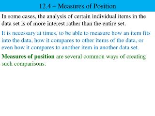 12.4 – Measures of Position