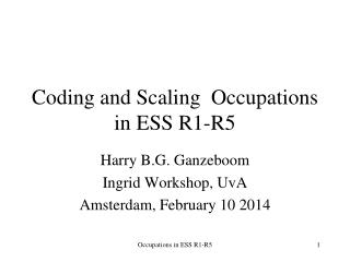 Coding and Scaling  Occupations in ESS R1-R5