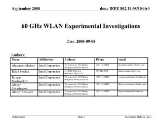 60 GHz WLAN Experimental Investigations