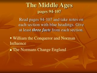 The Middle Ages pages 94-107