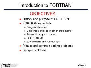 Introduction to FORTRAN