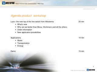 Agenda product  workshop