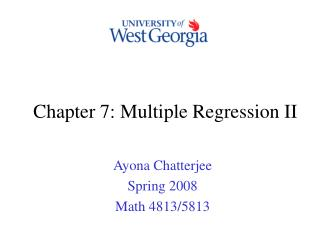 Chapter 7: Multiple Regression II