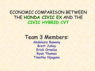 ECONOMIC COMPARISON BETWEEN THE  HONDA CIVIC EX  AND THE  CIVIC HYBRID CVT