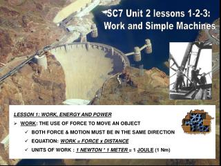 SC7 Unit 2 lessons 1-2-3:  Work and Simple Machines