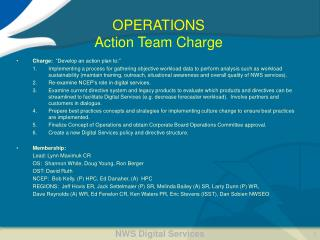 OPERATIONS  Action Team Charge